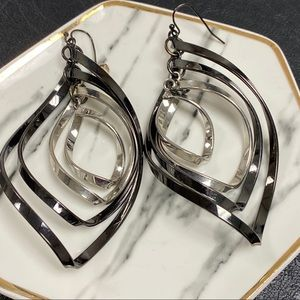 Black And Silver Long Hanging Earrings
